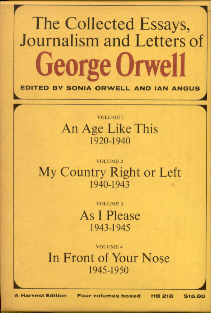 george orwell collected essays journalism and letters Orwell, george collected essays, journalism and letters of george orwell in:  orwell, sonia and ian angus, eds harcourt brace jovanovich, new york and.
