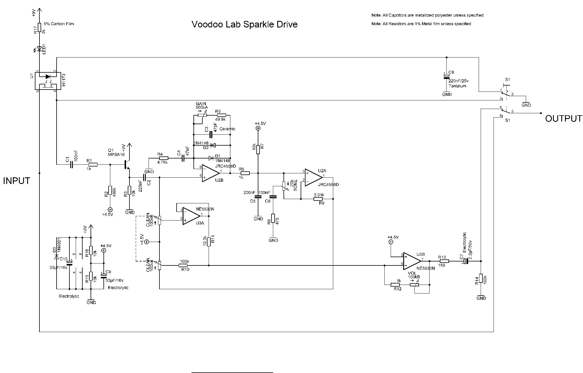 Modding A Way Huge Green Rhino For More Clarity And Drive The Distortion Pedal Schematics Example Reducing R6 47k On Sd 1 Increases Gain Same Thing Goes Sparkle Except That Resistor Is R4 Easy Peasy