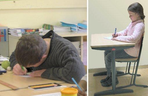 Links: De ruimte tussen buik en tafelrand wordt ogenblikkelijk benut... Rechts: Ingeklemd tussen rugleuning en tafelrand garandeert een rechte houding.