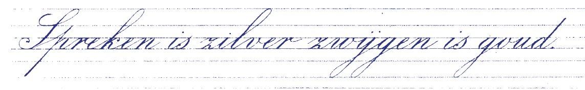 Zwelschrift in de methode van 't Hof. De stand is 45 graden. Omdat het lastig was met deze pen om de p te sluiten, werd deze open geschreven als de letter 'n'. Om het onderscheid met de 'n' groter te maken werd de ophaal hoger aangezet.