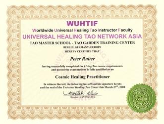 Certificaat van Master Mantak Chia Cosmic Healing