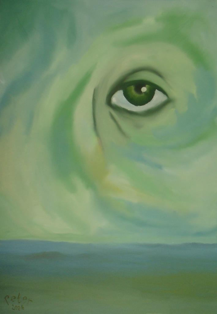 Titel:Het oog in groen. Olie schilderij vanPeter Schaareman, afmeting 100 bij 70 cm.