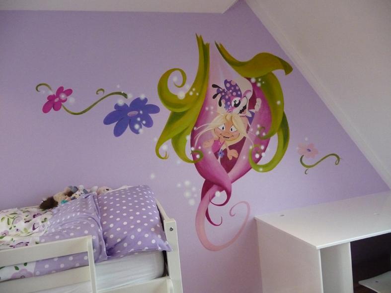 Behang Kinderkamer Vlinders : muurschildering babykamer ...
