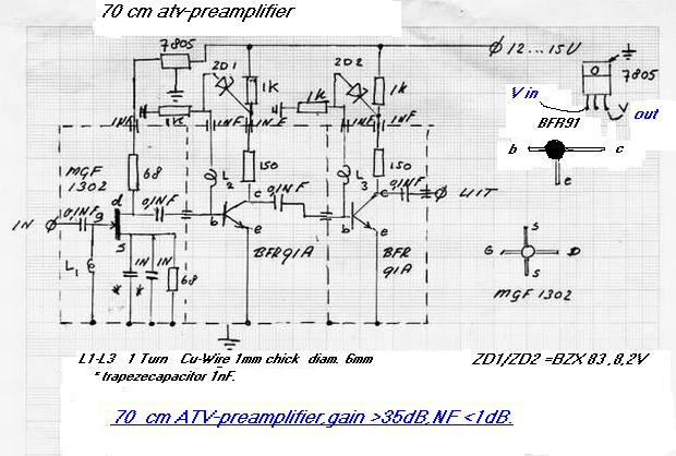 70 cm preamp gain 35 dB