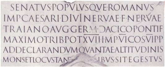 Kapitalen van de zuil van keizer Trajanus, de basis van het Westerse schrift